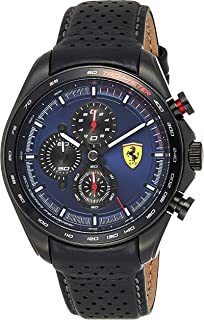 Ferrari Unisex-Adult Quartz Watch, Analog Display and Leather Strap 830649, Black
