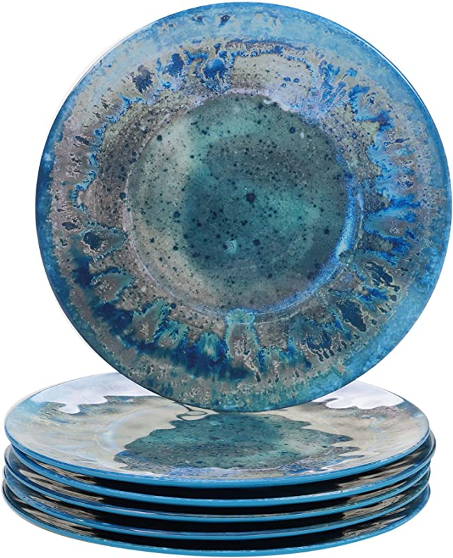 Certified International Radiance Teal Melamine 10 5 Dinner Plate Set Of 6