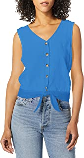 A. Byer womens Lace Back Tie-Front Sleeveless Top Blouse