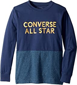 Converse Kids - Long Sleeve Static Heather Silicone Tee (Big Kids)