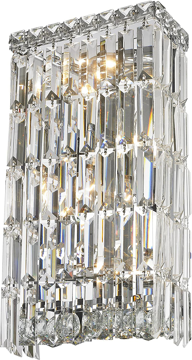 Worldwide Lighting W23522C8 Cascade Collection 4 Light Chrome Finish Crystal Rectangular 8  W x 16  H Small ADA Wall Sconce, 8-inch,