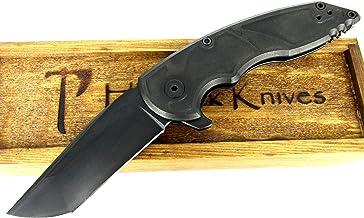 Jake Hoback Knives A8 Slimline Folder Knife DLC Black Titanium Handle Black Blade