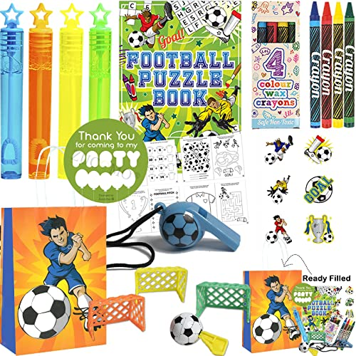 12 Kids Birthday Party Bags Football - Pre Filled Boys Toys, Bubbles, Tattoos and more Party Favours for Children