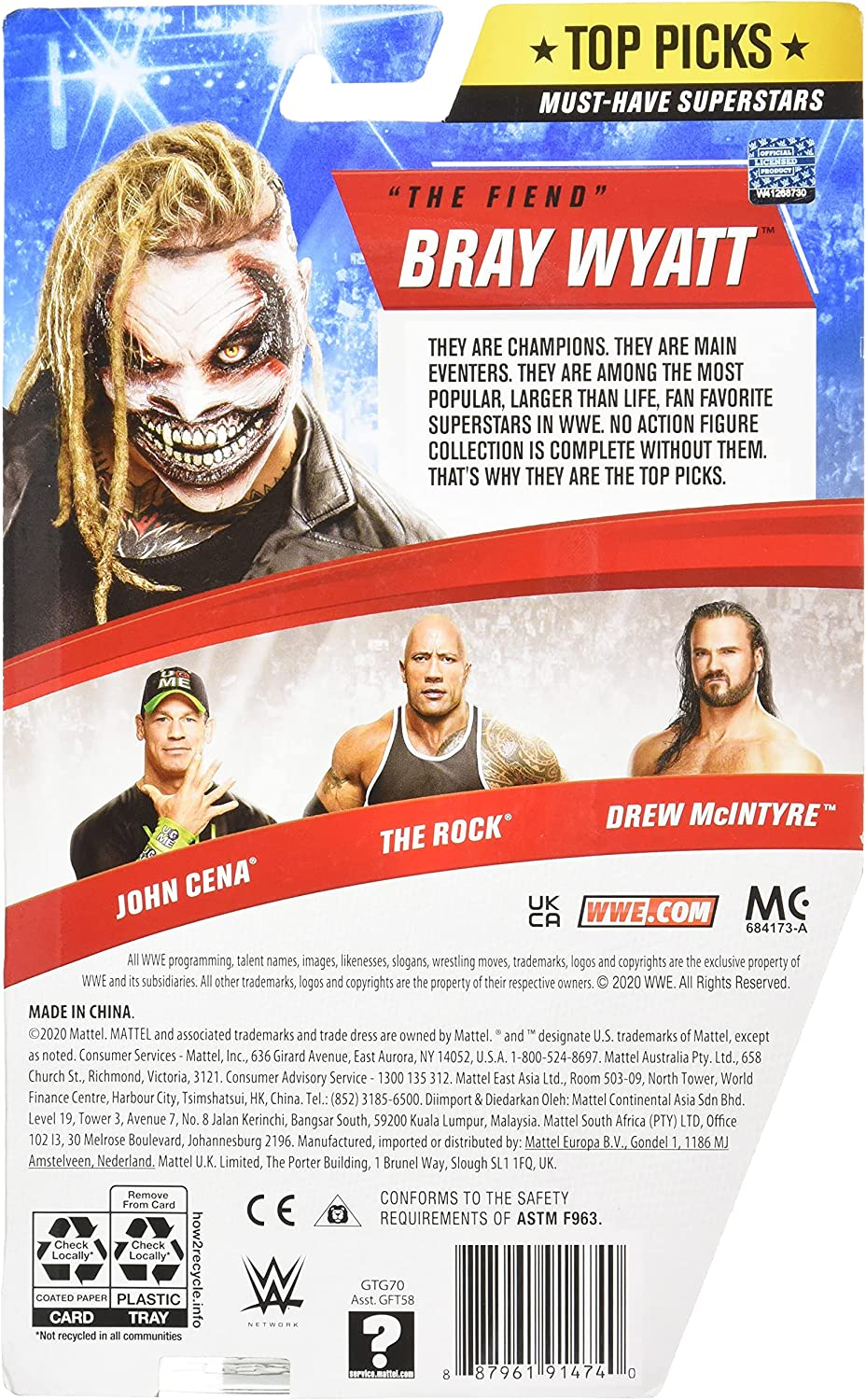 WWE Top Picks The Fiend Bray Wyatt Action Figure 6 in Posable Collectible...
