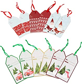 Christmas Gift Tags Kraft Paper, Jumbo Size, Pre-Tied with String Ribbon and Hot Stamp, for Holiday and Party Favors (Set of 24)