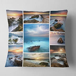 Designart Sea and Shore Collage' Seascape Photography Throw Cushion Pillow Cover for Living Room, sofa 18 in. x 18 in