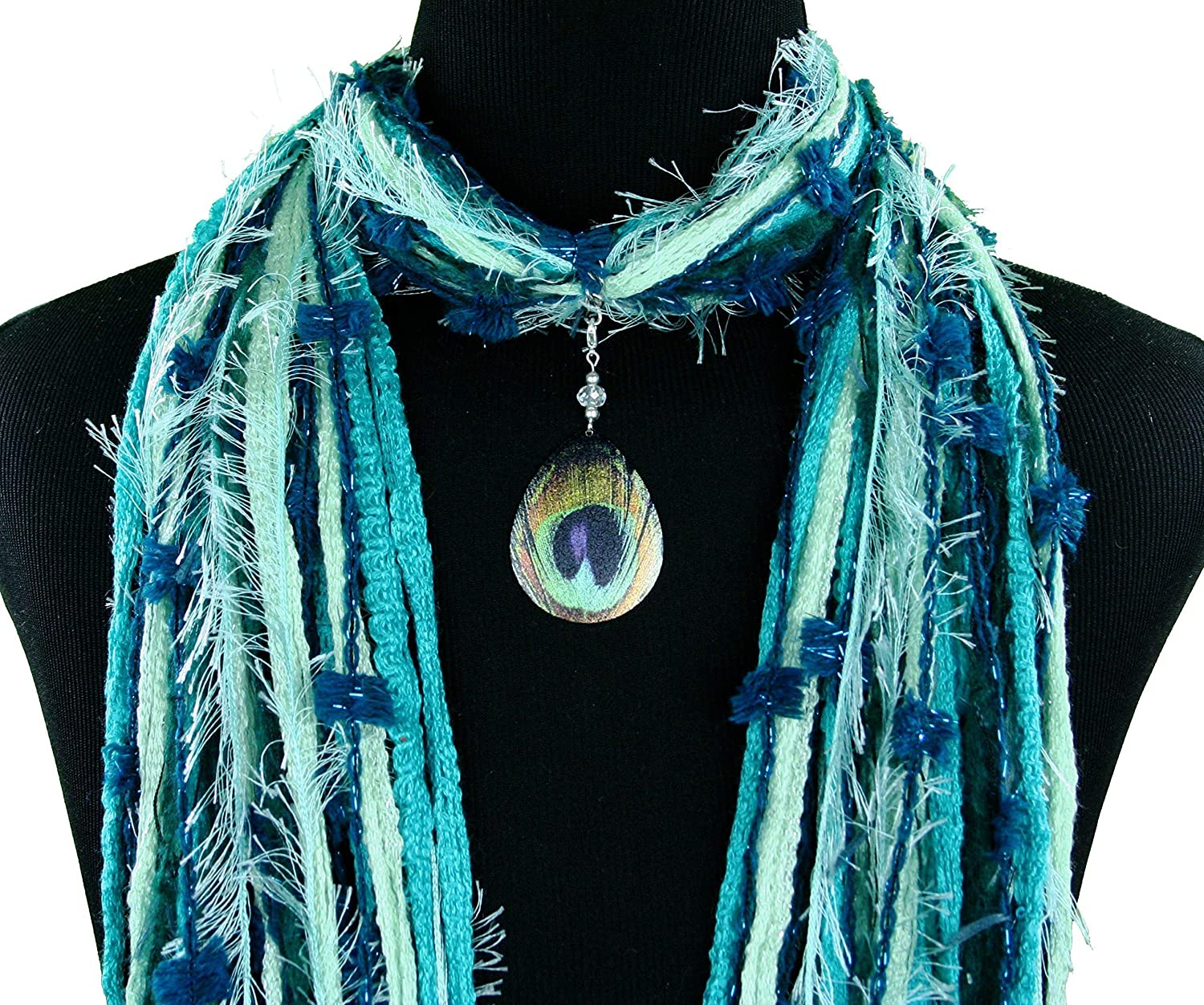 Peacock Feather Necklace Scarf - Black Green Grey Japan's largest assortment Turquoise Mu New Shipping Free