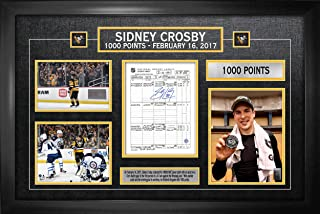Frameworth Sidney Crosby Signed Scoresheet Framed Penguins 1000th Point - NHL Autographed Miscellaneous Items