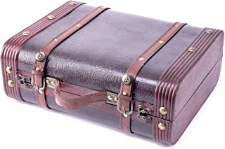 Vintiquewise(TM) Decorative Wooden Leather Suitcase