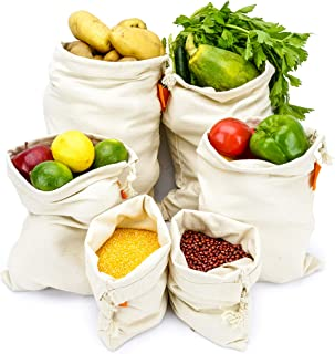 Bodaon Cotton Reusable Grocery Produce Bags Set of 6 Pack,Washable Premium Eco Friendly Bags With Drawstring, Zero Waste and Net Zero,Canvas Muslin,Vegetable,Toys & More,3 Sizes