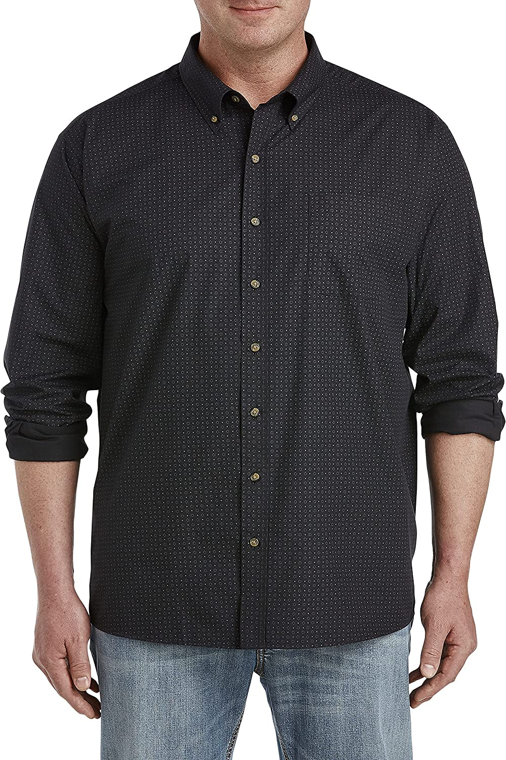 Harbor Bay by DXL Big and Tall Easy-Care Geo Print Sport Shirt, Black Grey
