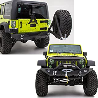 Restyling Factory -Rock Crawler Front Bumper with OE Fog Lights Hole and Winch Plate+Rear Bumper with Tire Carrier and 2