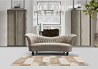 Iconic Home Mont Blanc Kidney Sofa Velvet Upholstered Quilted Flared Shelter Arms Couch with Espresso Finished Turned Wooden Legs Modern Transitional, Taupe