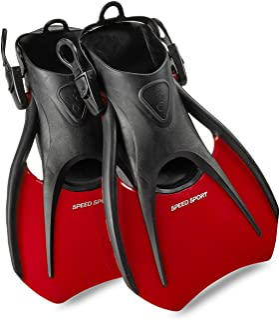 Phantom Aquatics Snorkel Fins, Swim Fins Travel Size Short Adjustable for Snorkeling Diving Adult Men Women Kids Open Heel...
