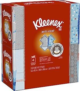 Kleenex Anti-Viral Facial Tissues, Tissues per Cube Box, 4 Pack