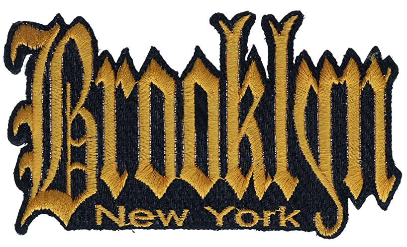 Brooklyn New York Gold Grafitti Script 4.5x2 Inch Patch PPMK1924