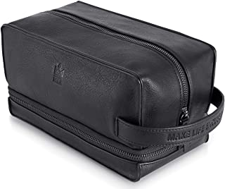 Black Leather Toiletry Bag for Men - Leather Dopp Kit for Men & Shaving Kit Bag - Mens Travel Toiletry Bag & Travel Accessories For Men - Cruelty-Free Leather and Hand Stictched.