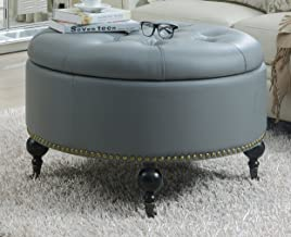 Iconic Home Mona Modern Tufted Gold Nail Head Trim Grey Faux Leather Round Storage Ottoman