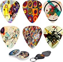 Abstract Art Cool Guitar Picks - Wassily Kandinsky Paintings. 12 Medium Gauge Celluloid Guitar Picks In a Box W/Picks Holder. Unique Guitar Gift For Bass, Electric & Acoustic Guitars