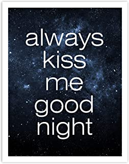 Printsmo, Always Kiss Me Goodnight, Bedroom Decor, Minimalist Modern Art Print Poster, Contemporary Wall Art for Home Deco...