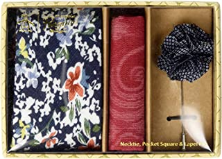 Men's Sommers 3-Piece Floral Tie, Pocket Square & Lapel Pin Box