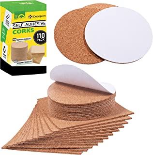 """Self Adhesive Cork Squares and Round - Premium 110 Pack Mini Corks 4"""" x 4"""" Board Sheets Tiles with 1/8"""" Thickness - Natura..."""