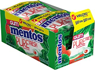 Mentos Pure Fresh Sugar-Free Chewing Gum with Xylitol, Watermelon, Stocking Stuffer, Gift, Holiday, Christmas, 12 Piece Resealable Pouch (Pack of 10)