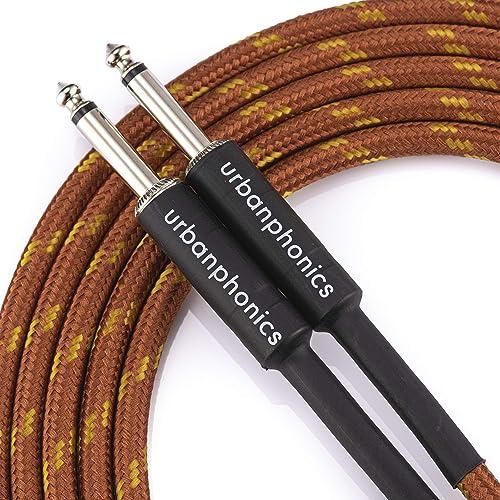 Urbanphonics Professional Câble pour Guitare Électrique, Électro-Acoustique, Guitare Basse, et Clavier - Tressé de Ha...
