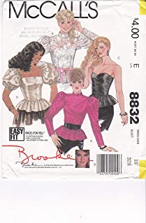 Top Patterns Strapless or Neckline and Sleeve Variations with Ruffled Peplum Tops McCall's Sewing Pattern 8832 Misses' Size 10 Bust 32.5