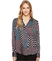 Tommy Hilfiger - Long Sleeve Woven Button Down Patchwork Print Top