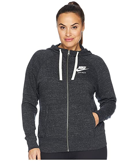 d0cd164f4bd Nike Plus Size Gym Vintage Full Zip Extended Hoodie at Zappos.com