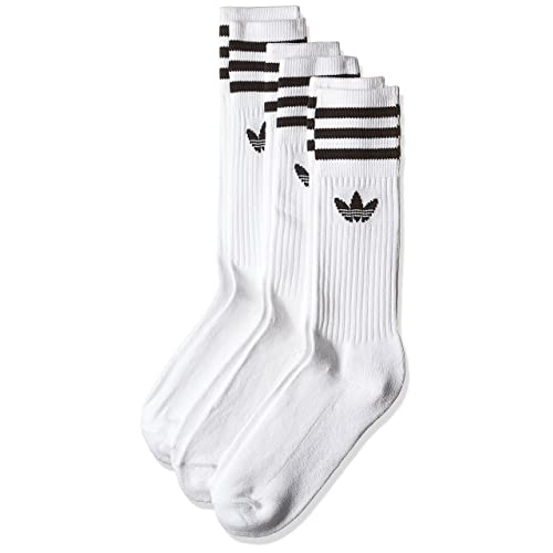low priced 4bf89 284cd Adidas Solid Crew, Calcetines Unisex Adulto, blanco   negro, 39 42,