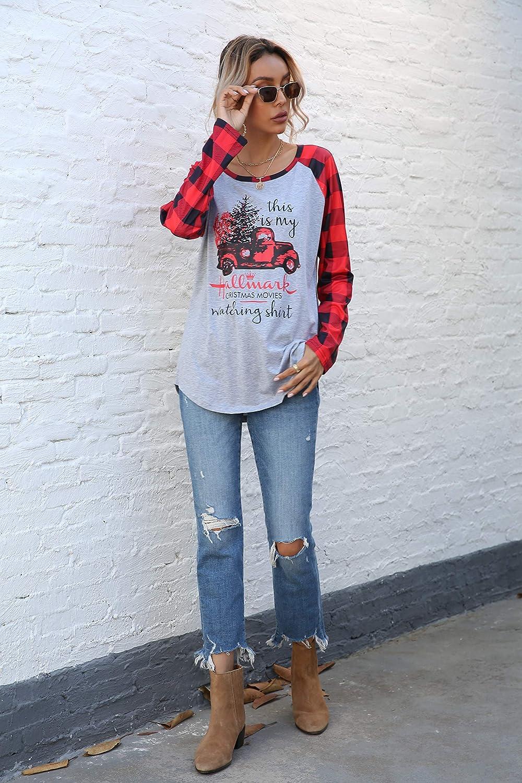 Merry Christmas Hat Shirt Women Funny Christmas Stripe Long Sleeve O-Neck Splicing Tops T-Shirt
