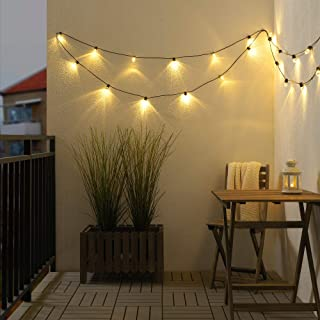 UTSUND - Cadena de iluminación LED con 24 luces para exteriores color negro
