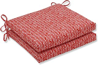 Pillow Perfect Outdoor   Indoor Herringbone Tomato Squared Corners Seat Cushion 20, 20 in. L X 20 in. W X 3 in. D, 2 Piece