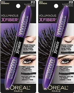 L'Oreal Paris Voluminous X Fiber Washable Mascara, Blackest Black, 2 count