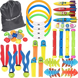 36 PCs Diving Pool Toys Deluxe Set w/ 4 Diving Sticks; 4 Diving Rings; 4 Toypedo Bandits; 12 Pirate Coins & Treasures; 4 Stringy Octopus; 4 Fish Toys; 4 Toy Balls for Kids Swimming Training Game