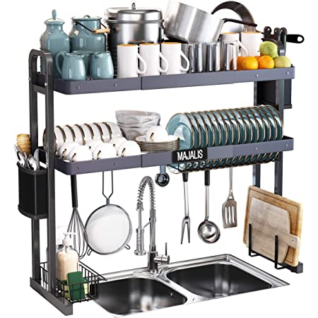 """Over The Sink Dish Drying Rack, MAJALiS Stainless Steel 2 Tier Large Dish Drainer Above Sink Adjustable 27.5"""" - 33.5"""", Expandable Kitchen Counter Organizer Storage Space Saver Shelf with 6 Hooks"""