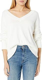 The Drop Lisa Suéter amplio suave de cuello de pico ancho para mujer