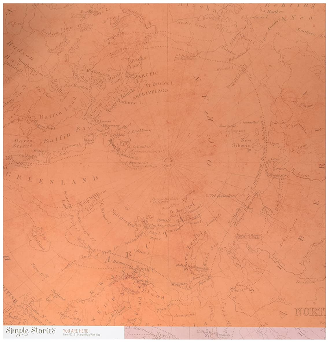 Simple Stories 6215 25 Sheet Orange/Pink Map You are Here Double-Sided Simple Basics Cardstock, 12