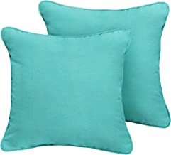 1101Design Sunbrella Canvas Aruba Corded Decorative Indoor/Outdoor Square Throw Pillows, Perfect for Patio Décor - Aruba Blue 16