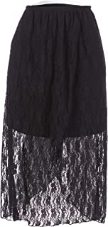 Star Vixen Women's Stretchy Lace Pull-on Easy Maxi-Length Skirt with Short/Miniskirt Lining