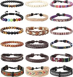 18Pcs Leather Chakra Bead Tribal Bracelet for Men Women Charm Ethnic Wood Beaded Hemp Bracelets Boho Wristbands
