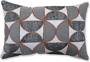 Pillow Perfect Indoor Half Circle Outline Orange Throw Pillow, 18.5 X 11.5 X 5, Grey