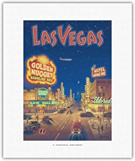 Pacifica Island Art Las Vegas, Nevada - Bonanza Air Lines - Vintage Style Airline Travel Poster by Kerne Erickson - Fine Art Rolled Canvas Print - 11in x 14in