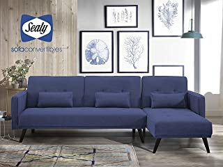 Sealy Jenna Modern Upholstered L-Shaped Convertible Sectional in Blue