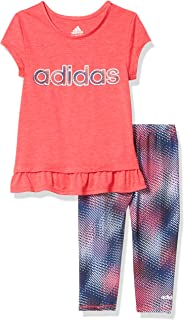 adidas Girls' Short Sleeve Top & Capri Legging Clothing Set