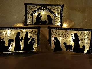 3 Piece Lighted Nativity Scene indoor Lighted Tabletop Nativity Set in Gold, Updated Design Handmade in USA