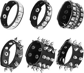 SAILIMUE 6 Pieces Punk Leather Bracelet for Men Women Rivet Cuff Bangle Bracelet Adjustable Black Leather Wristband with M...