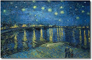Young N Refined Starry Night Over th Rhone by Vincent Van Gogh - Famous Wall Art Print of Painting decorarts for Home Living Room or Den Oil Painting Reproduction (18x24)